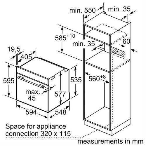 תנור בנוי נירוסטה 71 ליטר Bosch HBG635BS1 בוש - תמונה 5