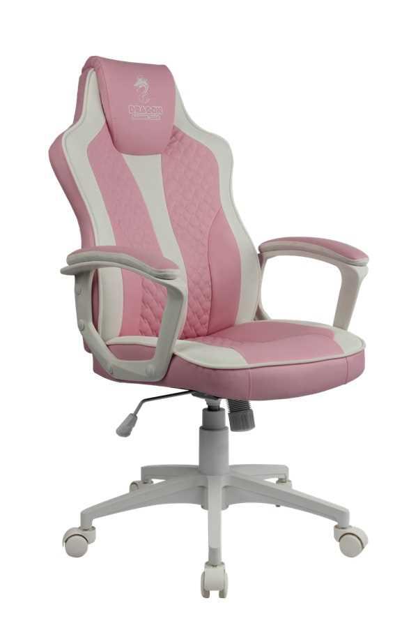 כסא גיימינג Dragon Sniper צבע ורוד לבן - תמונה 1