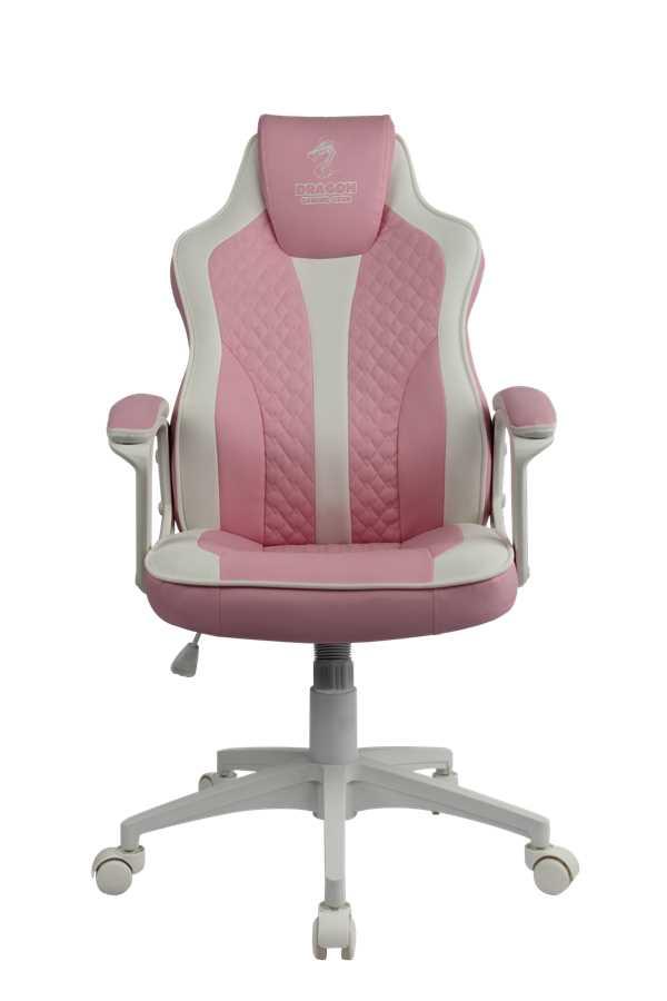 כסא גיימינג Dragon Sniper צבע ורוד לבן - תמונה 2