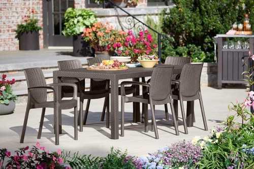 מערכת ישיבה מלודי שולחן עם 6 כסאות באלי MELODY SET חום 231171 - תמונה 2