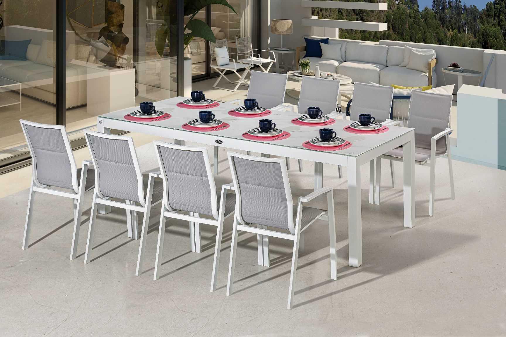 שולחן ענק 240/100 סמ זכוכית לבנה+8 כסאות ORLANDO אורלנדו - תמונה 2