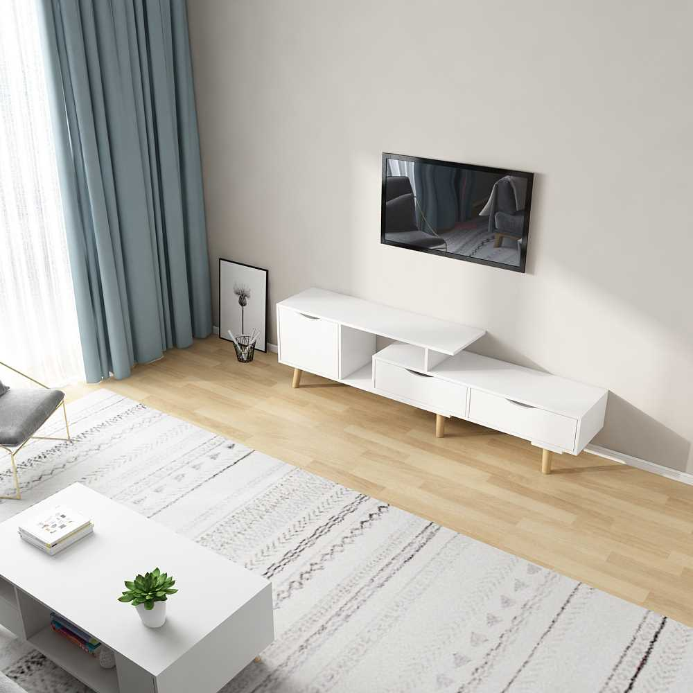 מזנון טלוויזיה דגם KINGSLEY צבע לבן - תמונה 1