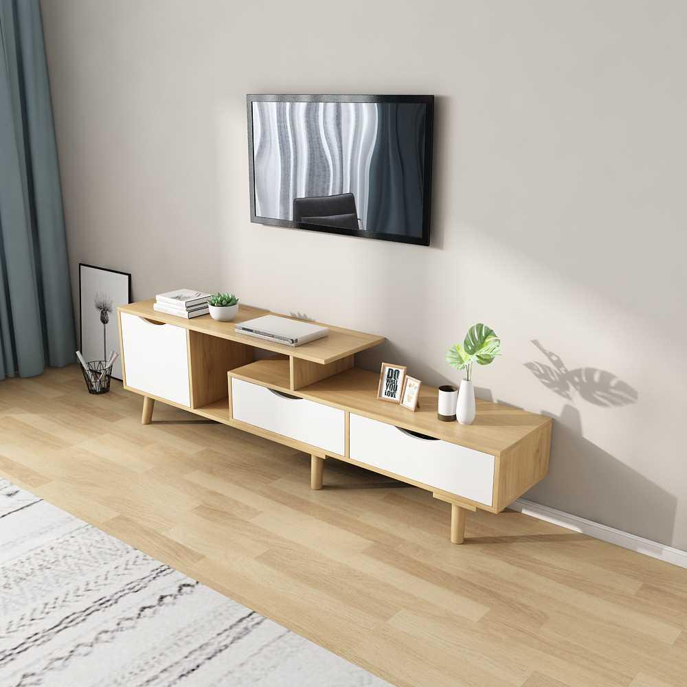 מזנון טלוויזיה דגם KINGSLEY צבע לבן ועץ טבעי - תמונה 4