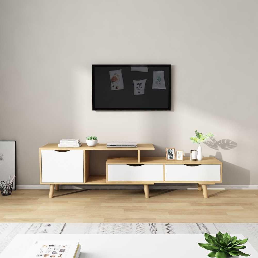 מזנון טלוויזיה דגם KINGSLEY צבע לבן ועץ טבעי - תמונה 1