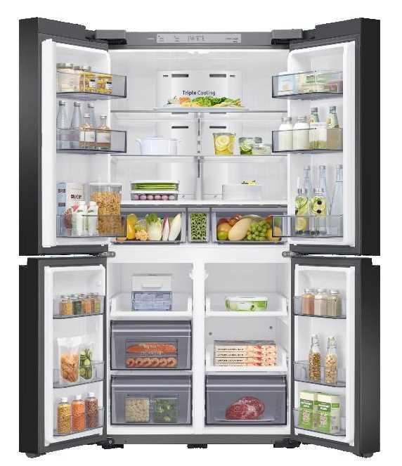 מקרר 4 דלתות 860 ליטר זכוכית לבנה Samsung RF90T9013WH סמסונג - תמונה 2