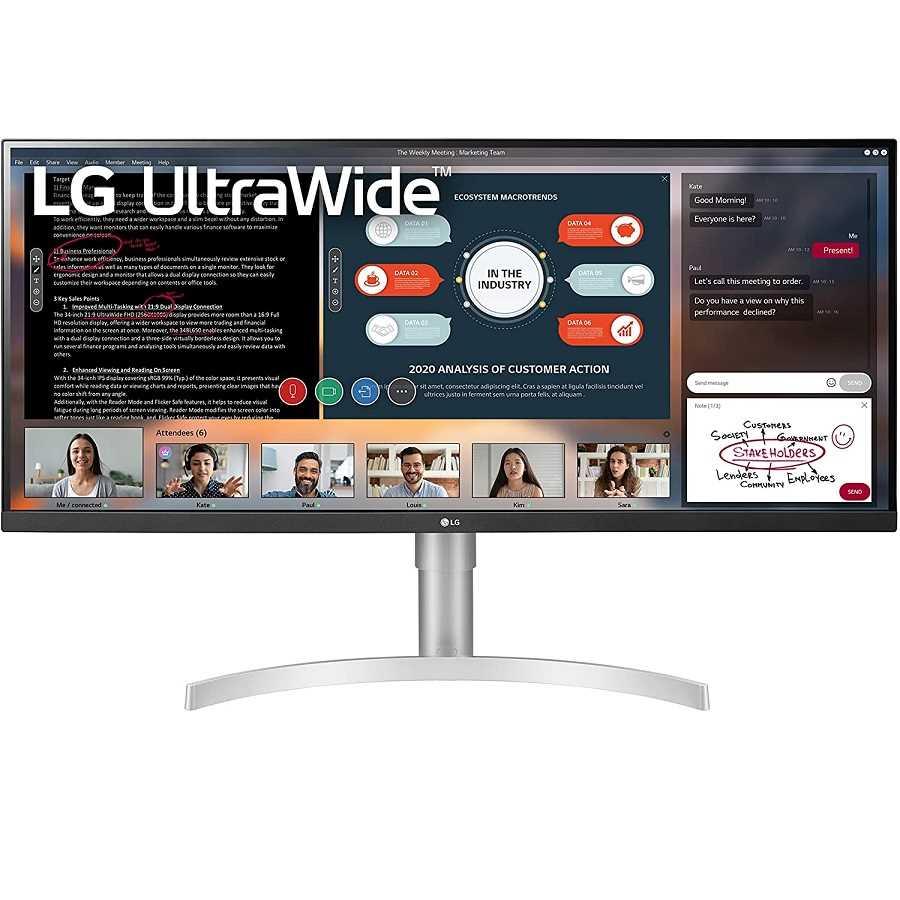 מסך מחשב מקצועי 34 אינטש LG 34WN650-W אל ג'י - תמונה 1