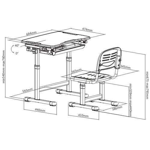 שולחן וכסא מתכווננים לילדים בגיל הגן צבע כחול BIG BOSS B210 - תמונה 2