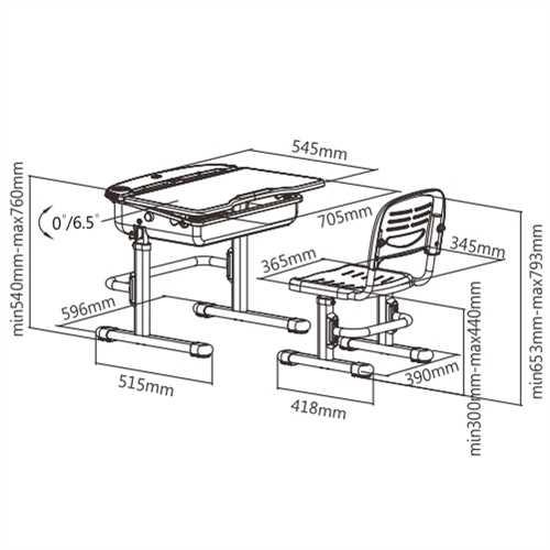 שולחן וכסא מתכווננים לילדים בגיל בית הספר צבע ורוד BIG BOSS C360 - תמונה 2