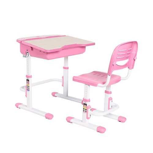 שולחן וכסא מתכווננים לילדים בגיל בית הספר צבע ורוד BIG BOSS C360 - תמונה 1