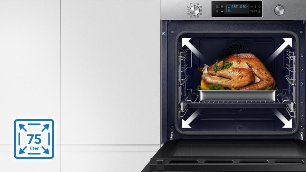 תנור בנוי פירוליטי 75 ליטר נירוסטה Samsung NV75K5571RS Dual Cooking סמסונג - תמונה 7