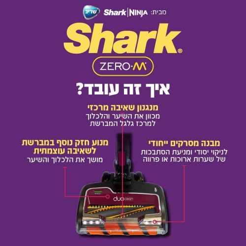 שואב אבק ידני נטען Shark DOUBLE PRO ZERO M IZ251 שארק - תמונה 10