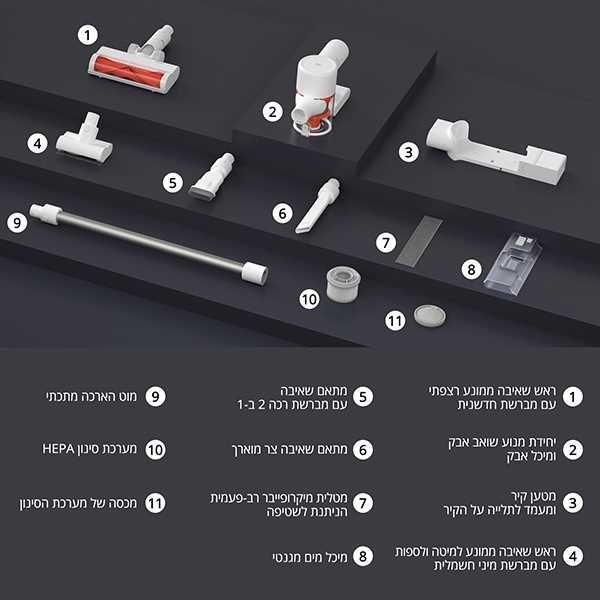 שואב אבק אלחוטי שוטף Xiaomi Mi Vacuum Cleaner G10 שיאומי - תמונה 5
