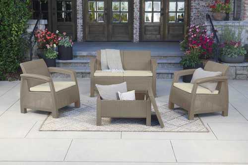 מערכת ישיבה קורפו סטורג' (כולל שולחן אחסון) - Corfu Storage Lounge Set בז' 248013 - תמונה 1