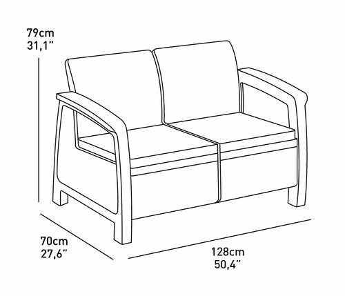 מערכת ישיבה קורפו סטורג' (כולל שולחן אחסון) - Corfu Storage Lounge Set לבן 247982 - תמונה 2