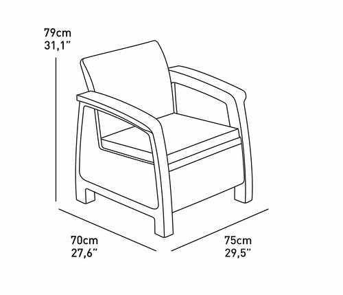 מערכת ישיבה קורפו סטורג' (כולל שולחן אחסון) - Corfu Storage Lounge Set לבן 247982 - תמונה 3