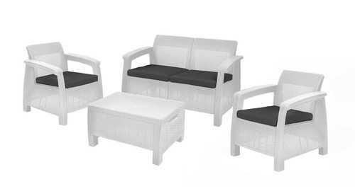 מערכת ישיבה קורפו סטורג' (כולל שולחן אחסון) - Corfu Storage Lounge Set לבן 247982 - תמונה 1