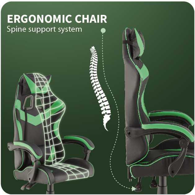 כסא גיימרים אורתופדי דגם PRO3 מבית NINJA EXTRIM שחור ירוק - תמונה 2