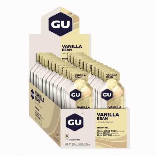 מארז 24 יחידות ג'ל האנרגיה הראשון בעולם GU בטעם וניל Gel Vanilla - תמונה 2