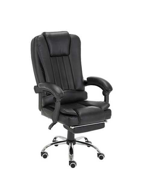 כיסא מנהלים משרדי דגם BOSS כולל הדום נשלף צבע שחור PRO TECH פרו-טק - תמונה 1