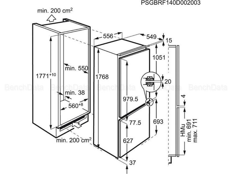 שרטוט טכני של המקרר