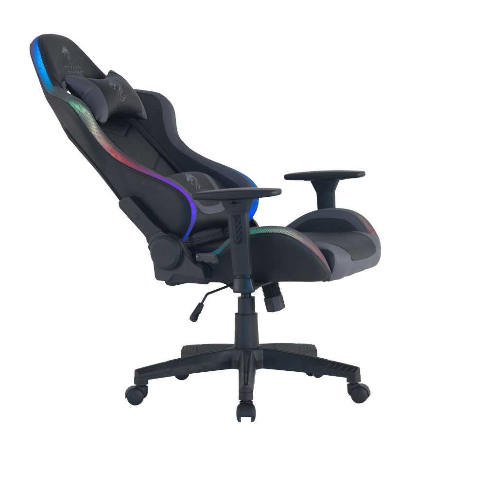 כיסא גיימינג Dragon Space Gaming Chair עם תאורה RGB - צבע אפור - תמונה 7
