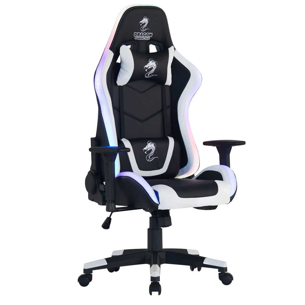 כיסא גיימינג Dragon Space Gaming Chair עם תאורה RGB - צבע לבן - תמונה 12