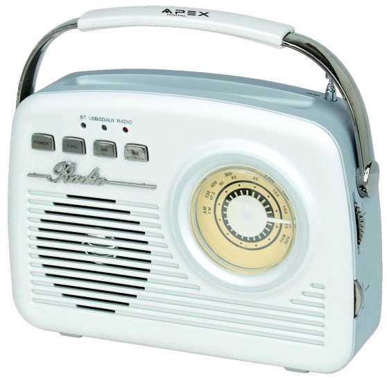 רמקול נייד משולב רדיו בעיצוב רטרו יפיפה APEX AP-1230 - תמונה 1