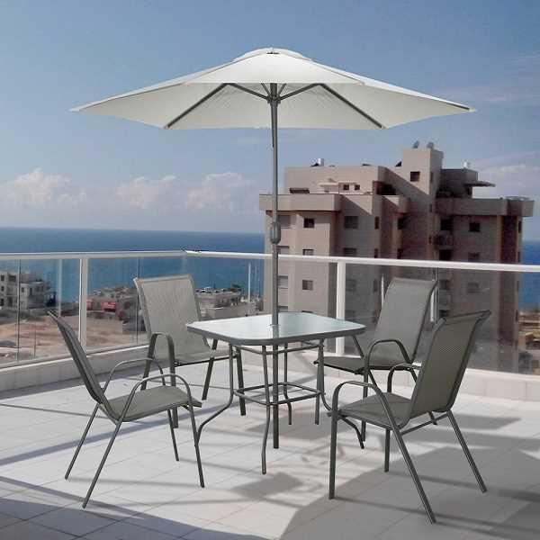 שולחן עם 4 כסאות ושמשיה לגינה Tuscany תוצרת Australia Camp - תמונה 3