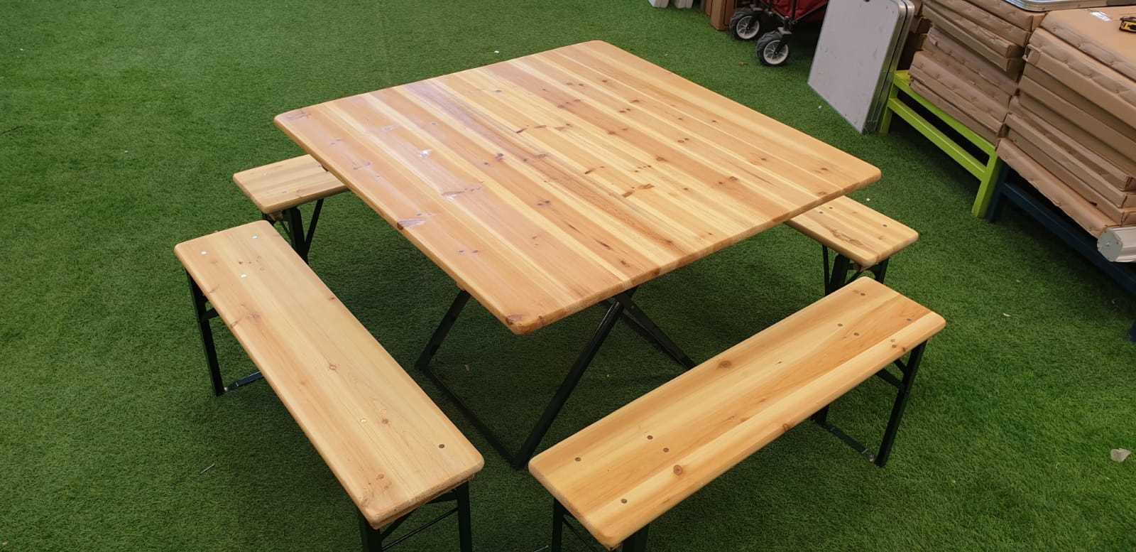 סט מתקפל שולחן עץ/מתכת + 4 ספסלים דגם 498911 - תמונה 1