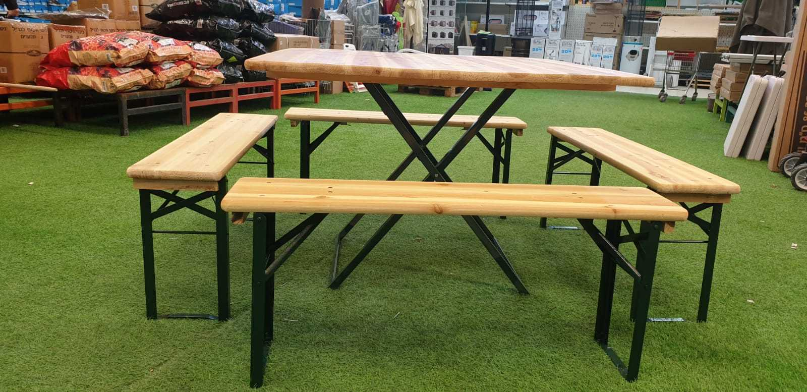 סט מתקפל שולחן עץ/מתכת + 4 ספסלים דגם 498911 - תמונה 2