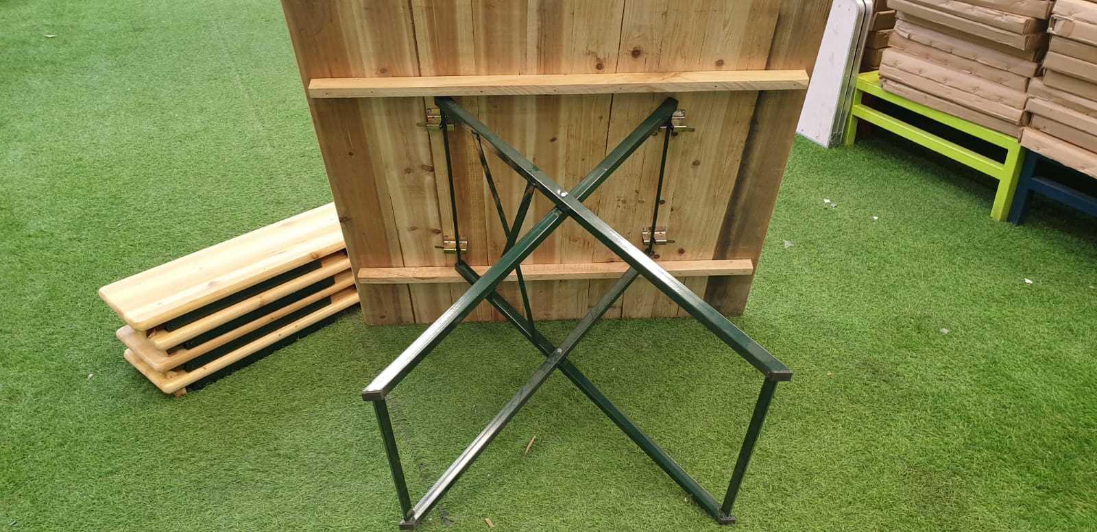 סט מתקפל שולחן עץ/מתכת + 4 ספסלים דגם 498911 - תמונה 3