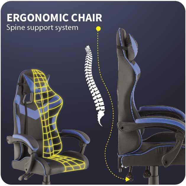 כסא גיימרים אורתופדי דגם PRO3 מבית NINJA EXTRIM שחור כחול - תמונה 2