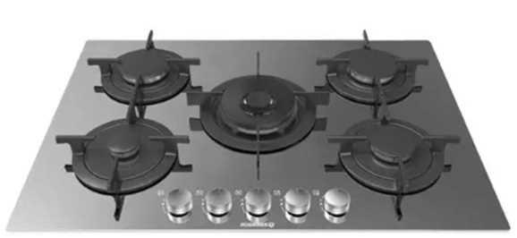 כיריים גז זכוכית מראה שחורה 75 ס