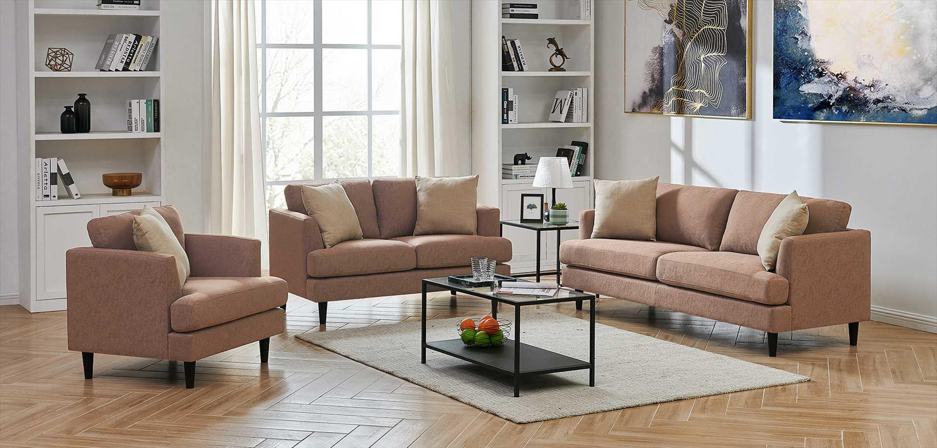 מערכת ישיבה מעוצבת לסלון 3+2+1 דגם לאונרדו צבע חום