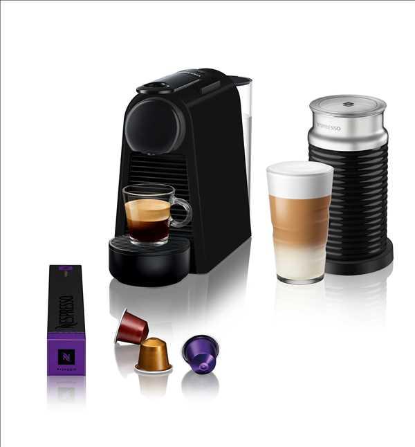 מכונת קפה NESRESSO אסנזה מיני בצבע שחור מט (מהדורה מוגבלת) דגם D30 כולל מקציף חלב ארוצ'ינו