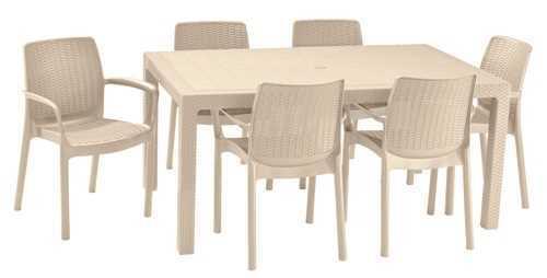 מערכת ישיבה מלודי שולחן עם 6 כסאות באלי MELODY SET קפוצ'ינו