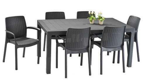 מערכת ישיבה מלודי שולחן עם 6 כסאות באלי MELODY SET אפור