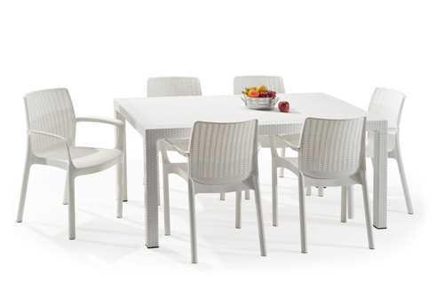מערכת ישיבה מלודי שולחן עם 6 כסאות באלי MELODY SET לבן