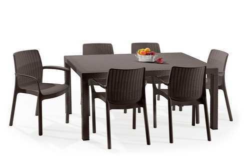 מערכת ישיבה מלודי שולחן עם 6 כסאות באלי MELODY SET חום