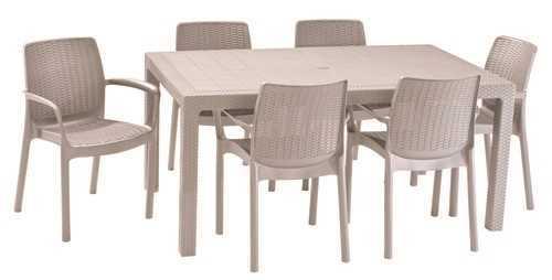 מערכת ישיבה מלודי שולחן עם 6 כסאות באלי MELODY SET בז'