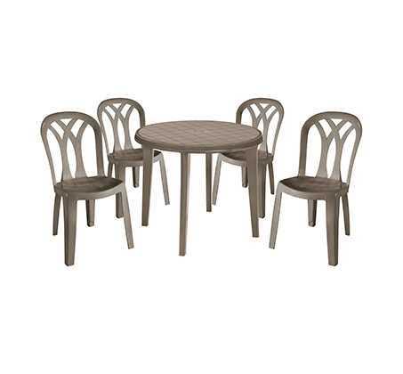 מערכת אירוח ליסה LISA עם 4 כיסאות פטיו באלי צבע קפוצ'ינו