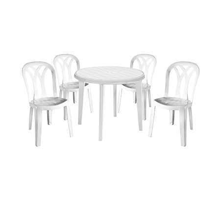 מערכת אירוח ליסה LISA עם 4 כיסאות פטיו באלי צבע לבן 246396