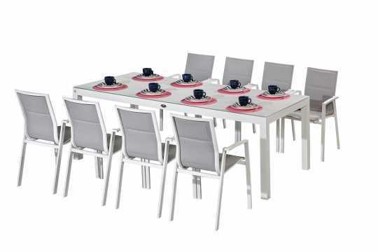 שולחן ענק 240/100 סמ זכוכית לבנה+8 כסאות ORLANDO אורלנדו
