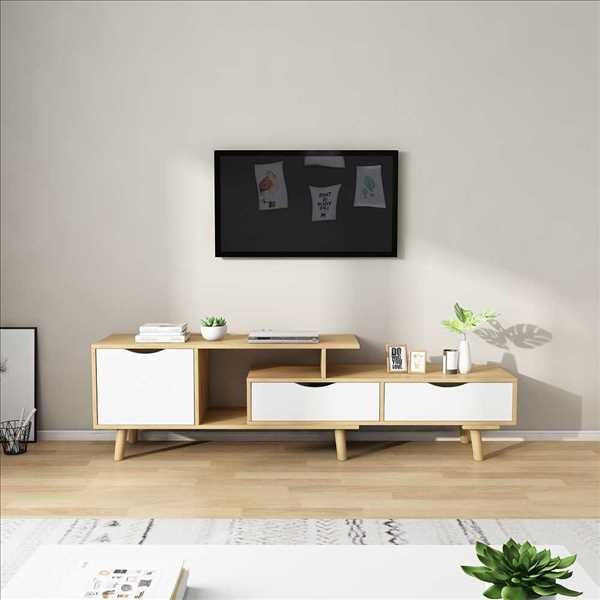 מזנון טלוויזיה דגם KINGSLEY צבע לבן ועץ טבעי