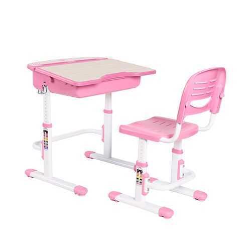 שולחן וכסא מתכווננים לילדים בגיל בית הספר צבע ורוד BIG BOSS C360