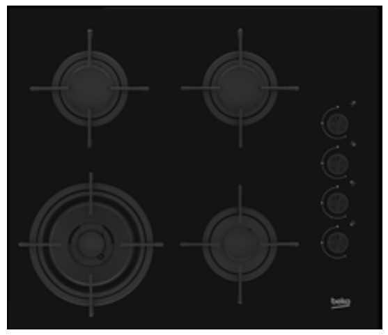 כיריים גז HILW64120S זכוכית שחורה BEKO בקו