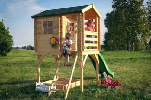 בית עץ לילדים עם סולם ומגלשה Garden Top דגם M501D - מבצע TIMBELA&KO