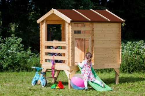 בית עץ לילדים עם מגלשה Garden Top דגם M501C - מבית TIMBELA&KO