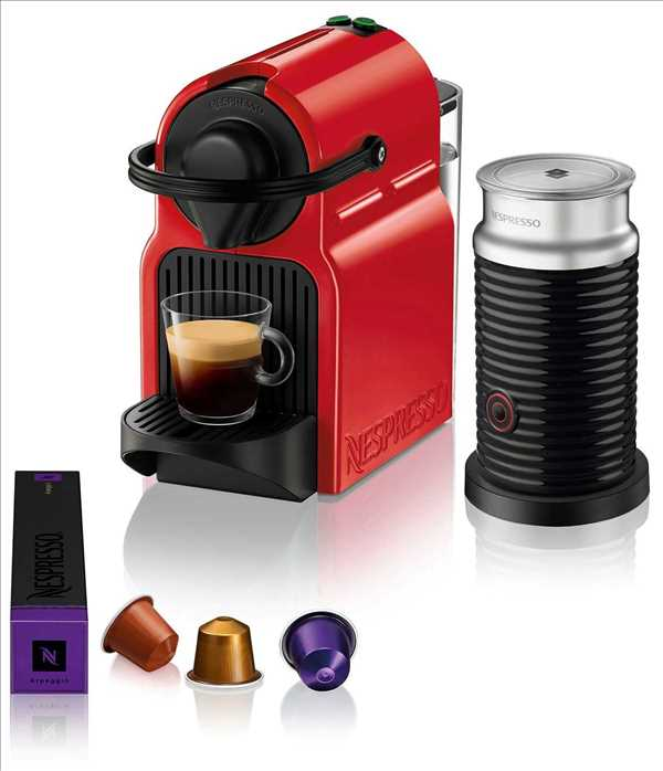 מכונת קפה NESPRESSO איניסייה בצבע אדום דגם C40 כולל מקציף חלב אירוצ'ינו
