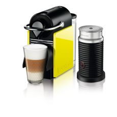מכונת קפה Nespresso  פיקסי קליפס בצבע שחור וצהוב לימון דגם C60 כולל מקציף חלב אירוצ'ינו